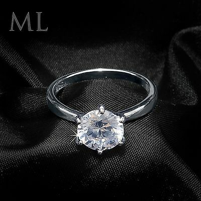 Womens Solitaire Engagement RING 2 CT Carat ROUND CUT White Gold Plated SIZE 5-9 2 Ct Diamond Solitaire Engagement Ring
