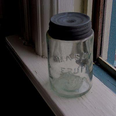 Antique Light Aqua Glass Pint Mason Fruit Jar & Zinc Lid