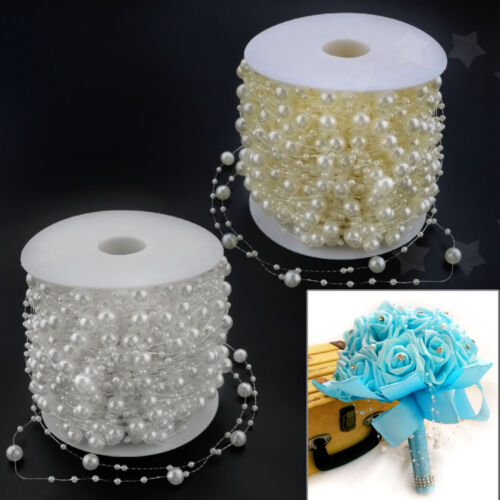 60m ABS Faux Pearl Beads Hanging String Bouquet Garland Xmas Wedding Accessory