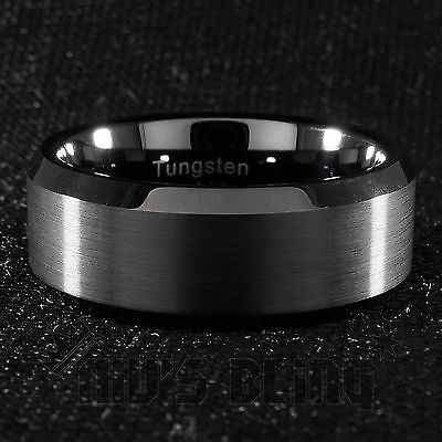 8mm Tungsten Carbide BLACK Wedding Band Polished Engagement Bridal Ring Men (Black Tungsten Band Wedding Rings)