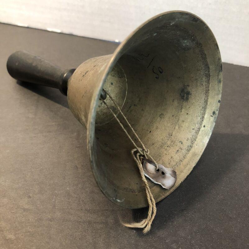 Antique Brass Teacher's Hand Held School Bell Town Crier Wood Handle - SEE VIDEO