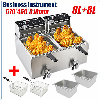 Double Electric Deep Fryer 8l8l Liter Commercial Tabletop Restaurant Fry Basket