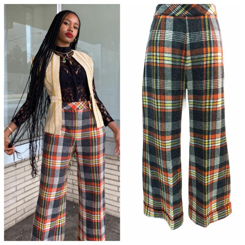 Vintage VTG 1960s 1970s Plaid Wool Wide Leg Pants Trousers