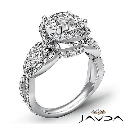 3 Stone Halo Cross Shank Pave Set Round Diamond Engagement Ring GIA F SI1 2.4Ct 1