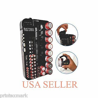 Battery Tester Caddy Organizer holds up to 72 batteries wall mount or counter...