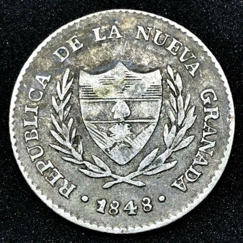 1848 COLOMBIA, 2 REALES, NUEVA GRANADA-BOGOTA- Rare Silver Coin.#2 KM #105