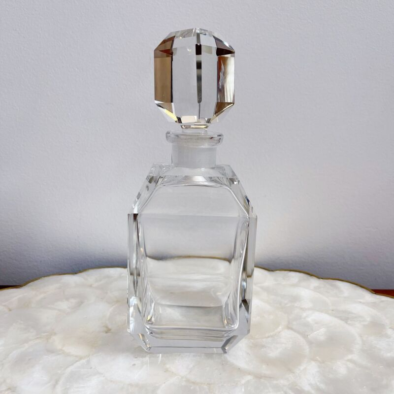 Cut Crystal Clear Wine Whiskey Decanter Square Shape Barware Heavy Art Deco