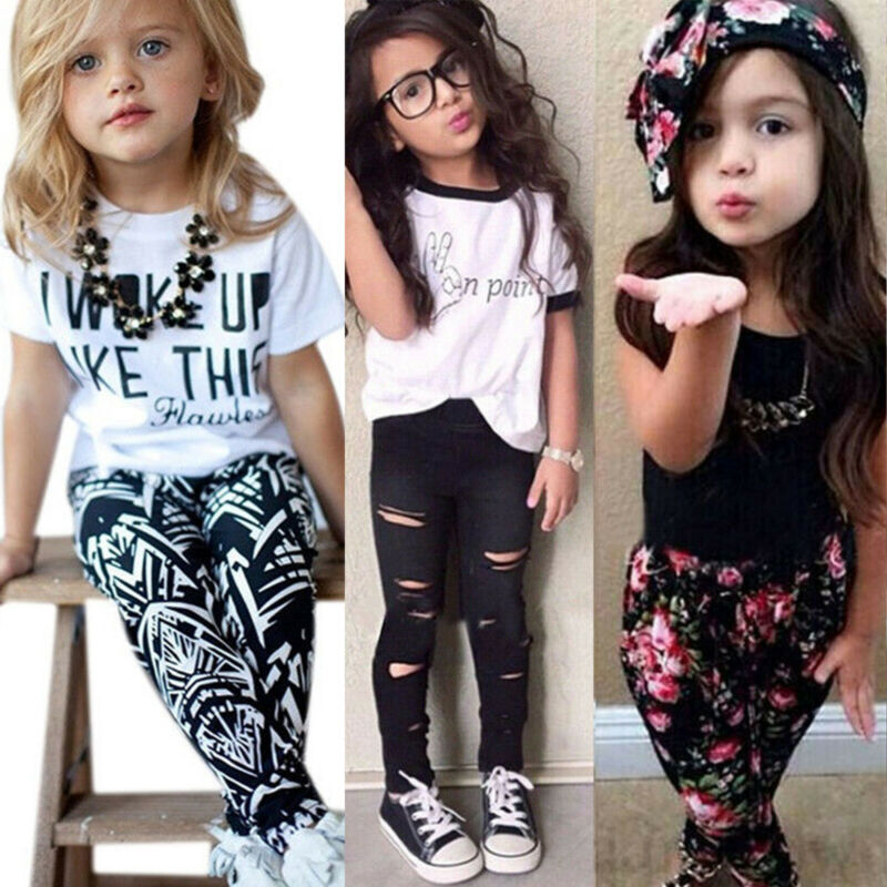 US Toddler Kids Baby Girls Outfits Clothes T-Shirt Tops Coat