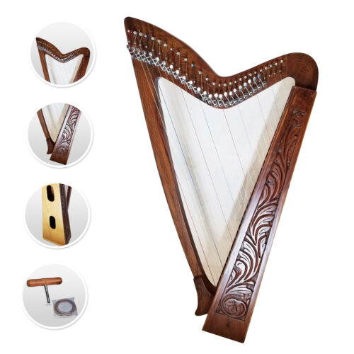 27 Strings Nylon Levers Harp Celtic Solid Rosewood Natural FREE Tuning Key