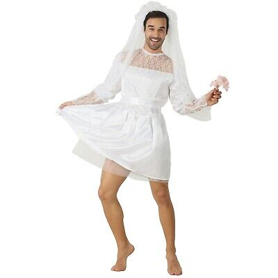 Mens Bride Costume (Adult Costume Mens Male Bride Wedding Dress Stag Do Fancy Dress Party)