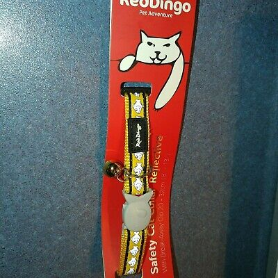 Red Dingo Cat Break-Away Collar Yellow W/ Reflective Fish -Medium -Bell -Safety! Fish Reflective Collar