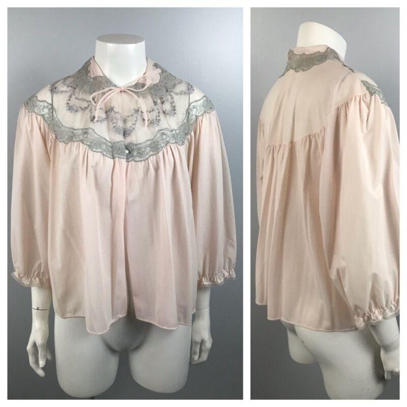 1960s Bed Jacket / Pale Pink Nylon Lavender Lace Tie Nightie Blouse Top / Medium