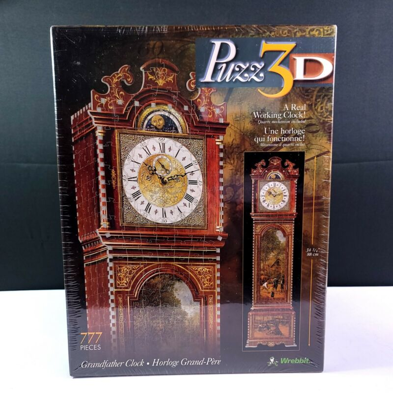 "BRAND NEW Puzz 3D Puzzle Grandfather Clock 777 Pieces 34 3/4"" Tall 1997 Wrebbit"