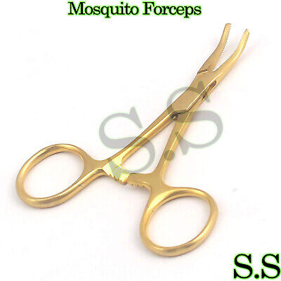 Hemostat Mosquito Forceps Full Gold Surgical 3.5 Curved
