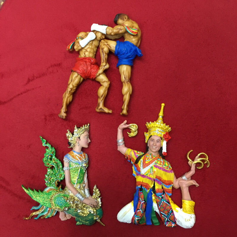 Thai souvenir collectibles handmade hand painted resin lot of 3 pieces