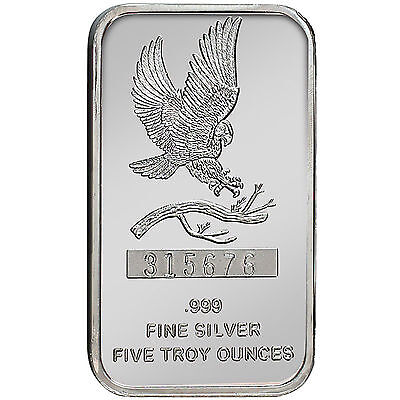 Trademark Bald Eagle 5oz .999 Fine Silver Bar by SilverTowne #5966