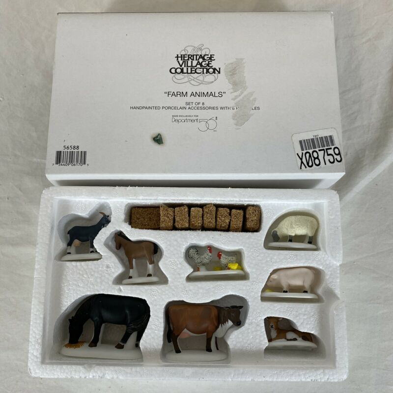 Dept 56 Village FARM ANIMALS #56588 Set of 8 Horse Cow Goat Sheep Chickens + HAY