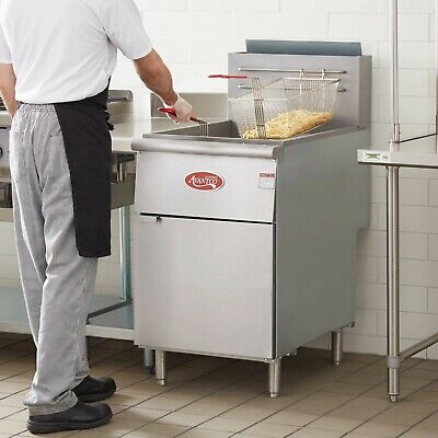 New 70 - 100 Lb Natural Gas Commercial Restaurant Floor Deep Fryer Stainless St
