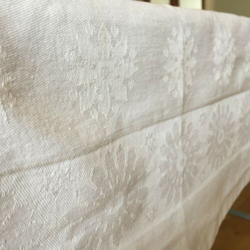 Vintage White Damask Tablecloth Cotton Fabric Floral Flowers Square 124x121.5cm