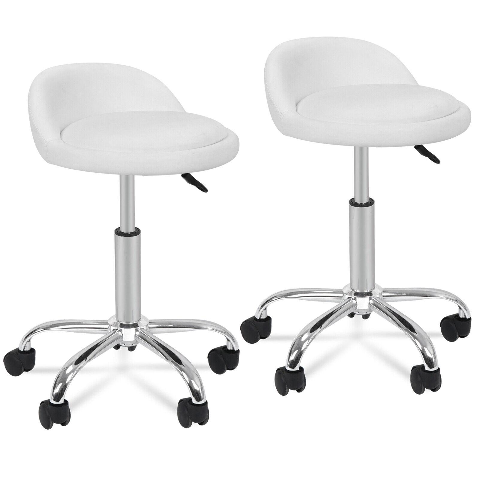 2X Salon Stools w/Back Rest Saddle Hydraulic Adjustable Spa Rolling Medical Health & Beauty