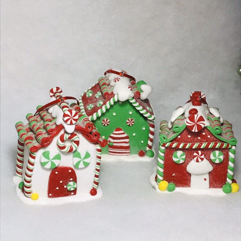 Peppermint Gingerbread House Christmas Tree Ornaments set of 3