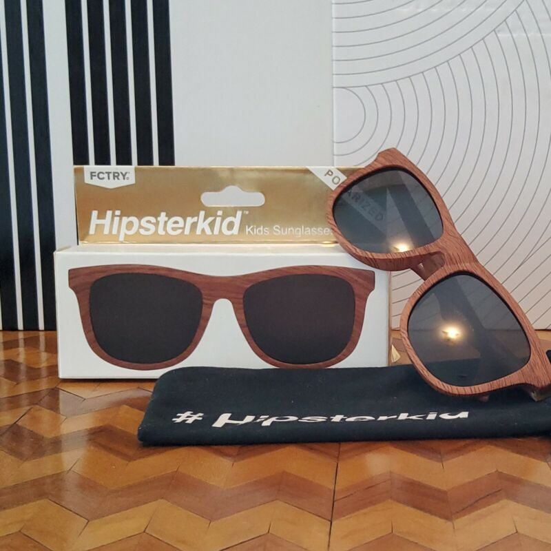 FCTRY Hipsterkid GOLDS Kids Sunglasses Wayfarers 3-Piece Polarized Wood Ages 3-6