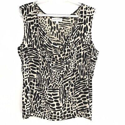 Drapers & Damons Womens Sz XL Black Ivory Geo Print Drape Neck Sleeveless Top Draper Black Drapes