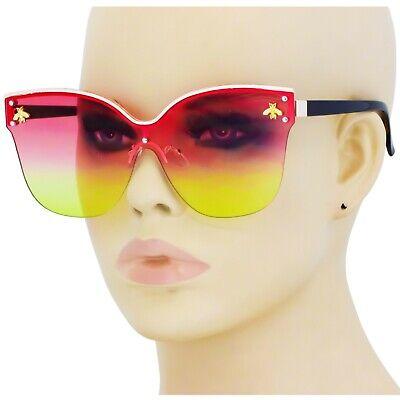 2020 Luxury Gold Bee Sunglasses Women One Lens Cat Eye Fashion Oversize (Gold Bee Sunglasses)