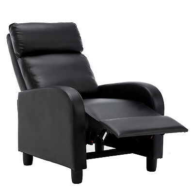 Black Manual Leisure Recliner Chair Chaise Couch Accent Lounge Armchair Sofa