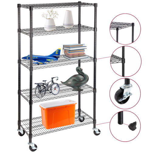 "5 Tier Adjustable Steel Shelf 60""x30""x14"" Heavy Duty Wire Shelving Rack Storage"