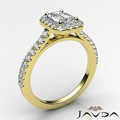 Halo Emerald Cut Diamond Engagement French U Pave Wedding Ring GIA F VS2 1.21Ct 8