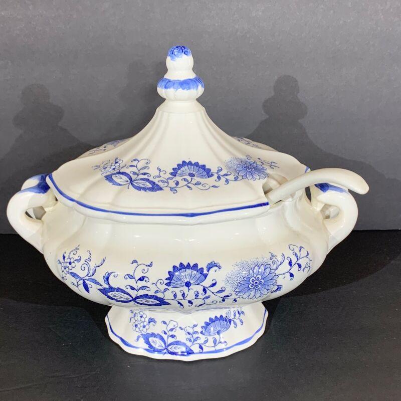 Vintage Blue & White Porcelain Onion Scroll Soup Tureen With Lid & Ladle