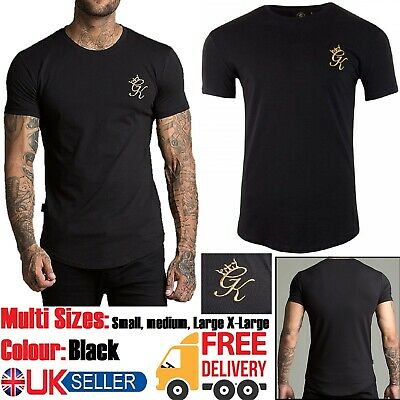 GYM KING Men Longline And Ringer Short Sleeve T Shirt Crew Tee Top Size S/M/L/XL