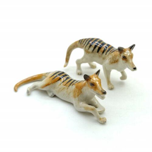 2 Thylacine Tasmanian Tiger Ceramic Figurine Animal Statue - CWT031