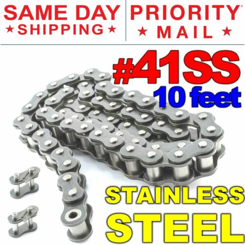 #41SS Stainless Steel Roller Chain x 10 feet + 2 Connecting Link