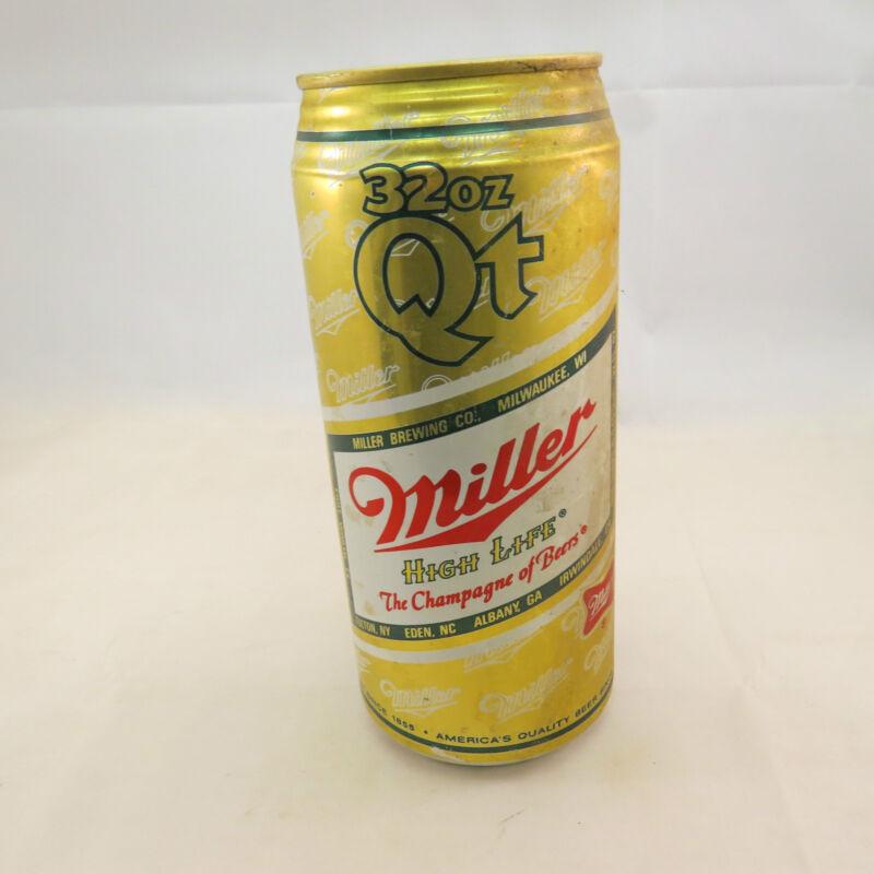 Vintage Miller High Life empty beer can, 32 oz, aluminum