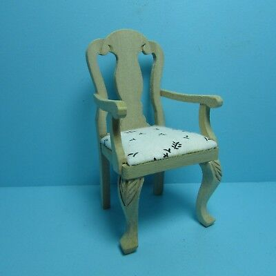Dollhouse Miniature Unfinished Wood Dining Room Arm Chair with Fabric ~ GW97 (Fabric Unfinished Chair)