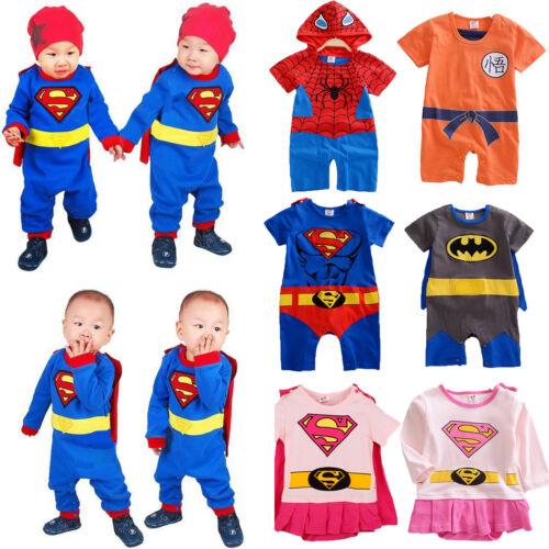 Kleinkinder Baby Jungen Held Mädchen Kinder Strampler Overall Romper Kostüm Neu
