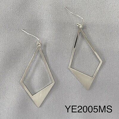 Silver Brushed Diamond  Cut Out Shape Abstracted Drop Dangle Hook (Diamond Cut Out)