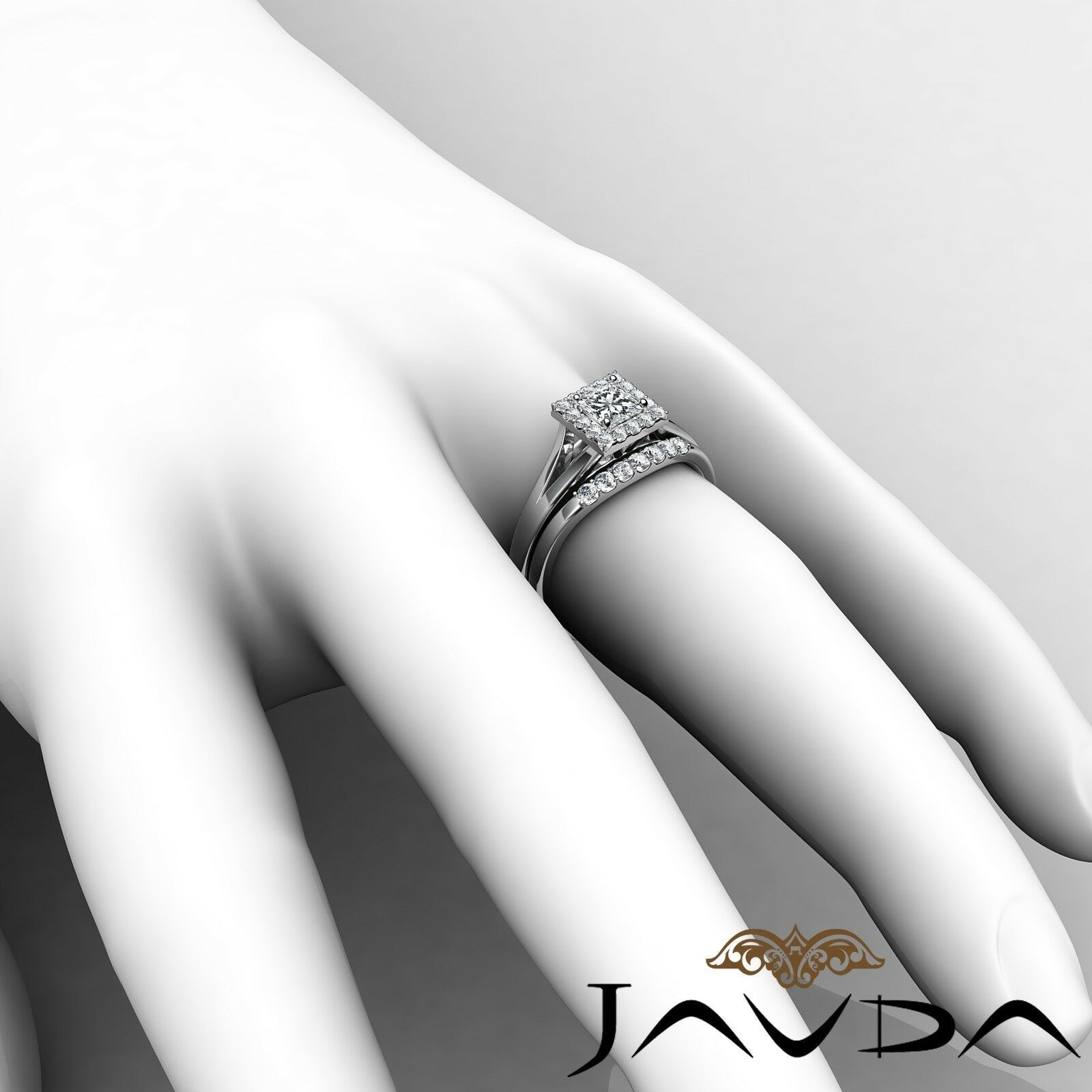 0.93ctw Halo Pave Bridal Princess Diamond Engagement Ring GIA F-VVS1 White Gold 6