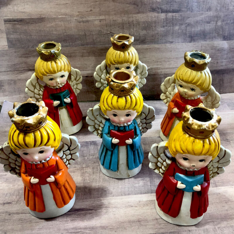 Wolin Homco Christmas Angel Candle Holder Japan paper mache Vintage Set Of 6