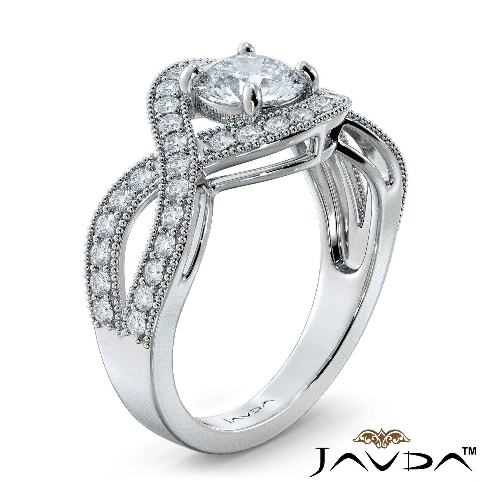 1.25ctw Milgrain Halo Side Stone Round Diamond Engagement Ring GIA G-VS1 W Gold 1