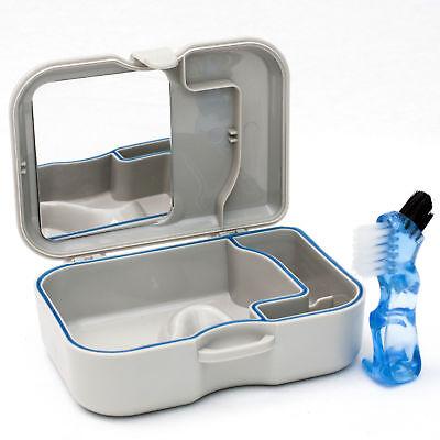 Denture Storage Case Mirror & Brush Dental Appliance Box, Cleaning Bath New US