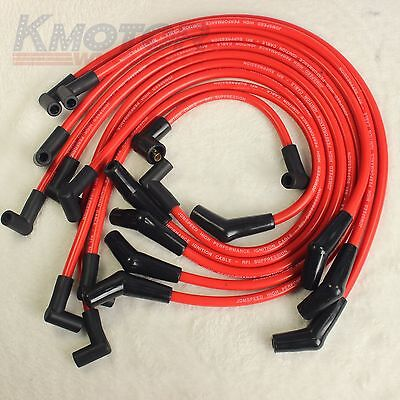 JDMSPEED Racing Spark Plug Wires Set Red 10.5mm For Ford F-150 Mustang 5.8 5.0L
