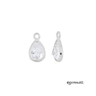 2 Sterling Silver Clear CZ Small Teardrop Charm Beads 5.7x10mm #99641