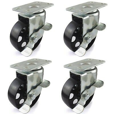 4 Pack Casters 3.5 Wheels W Brake 385 Lb Capacity Swivel Heavy Duty No Marks