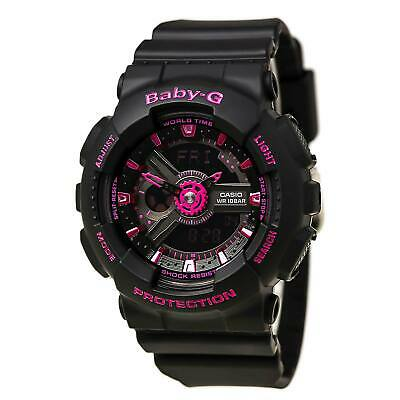 Casio BA111-1A Womens Baby-G World Time Black Dial Black Resin Strap Alarm Watch