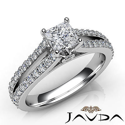 Double Prong Princess Diamond Engagement Bezel Split Shank Ring GIA E VS1 1.37Ct