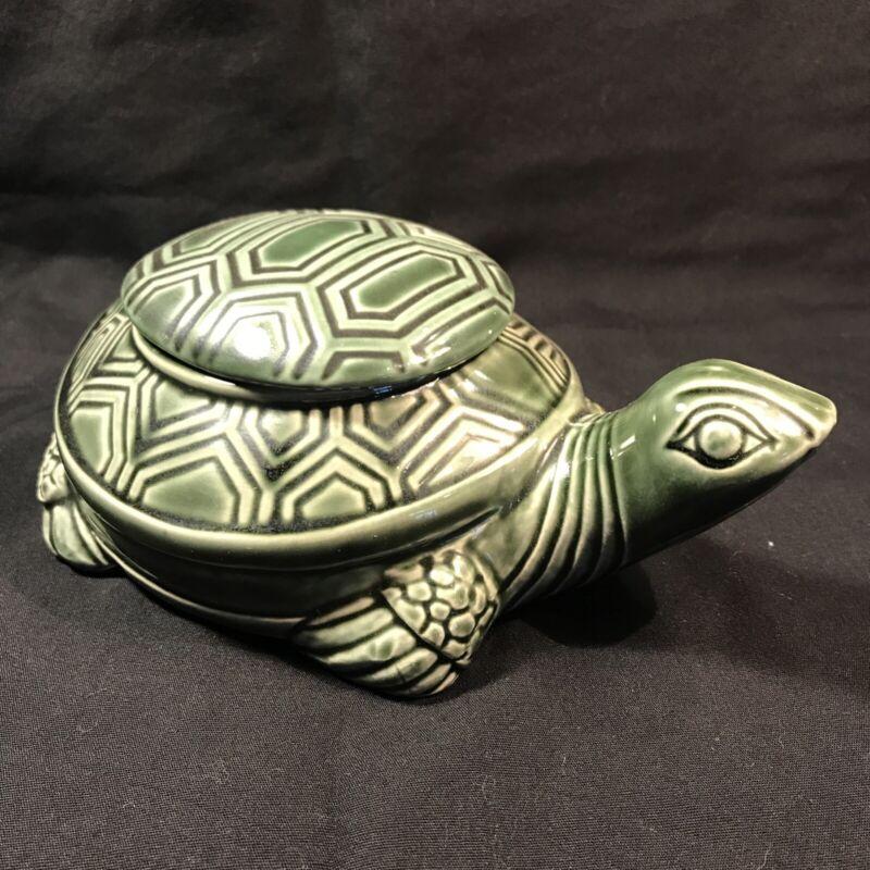 "Vintage8"" Long Lidded Turtle Trinket Box Candy Dish Ceramic Green Glaze"