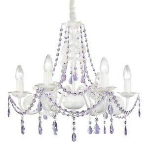 Chandelier with purple crystals.